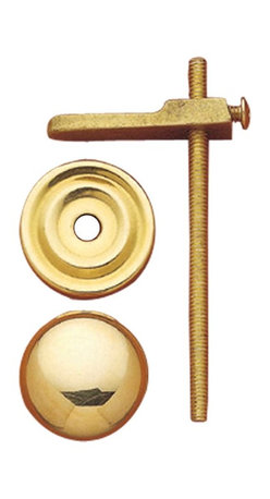 """Renovators Supply - Cabinet Knobs Bright Solid Brass 1 1/4"""" turns to latch cabinet - This solid brass cabinet knob comes with a backplate and turns to latch your cabinet.  Comes in a polished and lacquered finish."""