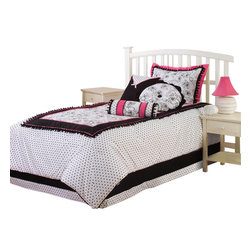 Hallmart Collectibles - Gale Twin Comforter Set - Includes comforter, one standard sham and 3 throw pillows. Cotton and polyester construction. 68 in. W x 86 in. L