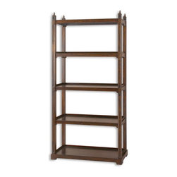Uttermost - Uttermost 24126  Brearly Wood Etagere - Stately framework of poplar solids with sapele veneer in rich, dark bourbon finish.
