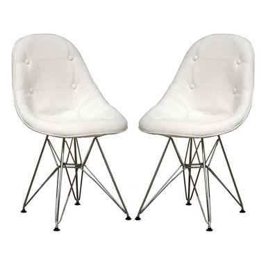 Baxton Studio - Baxton Studio Ami Modern White Faux Leather Side Chair Set of Two - This pair of accent chair's a modern study of the traditional button-tufted club chair. Each chair features a lightly padded and fully-upholstered seat in white leather-matched vinyl. The soft panels of material are sewn together and accented at the corners with matching buttons to mimic traditional, classic furnishings. Underneath, the chairs' bases are robust steel with high-shine chrome finish. Black plastic feet are included for stabilization. Assembly is required.