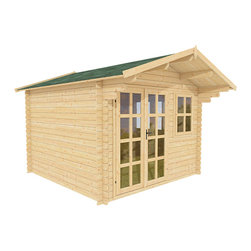Daisy 10 x 10 Wood Shed / Pool House - ECO Garden Sheds. All natural wood 10 x 10 Tropical pool house/ wood shed -- Daisy. Front view A.