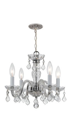 """4 Light 15"""" Polished Chrome Mini Chandelier with Clear Hand Cut Crystal - Traditional crystal chandeliers are classic, timeless, and elegant. The opulent glass arm chandeliers are nothing short of spectacular."""