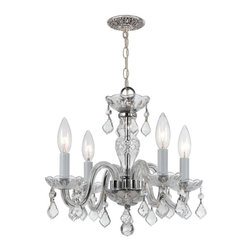 "4 Light 15"" Polished Chrome Mini Chandelier with Clear Hand Cut Crystal - Traditional crystal chandeliers are classic, timeless, and elegant. The opulent glass arm chandeliers are nothing short of spectacular."