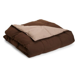 Down Alternative Taupe and Chocolate Full/Queen Reversible Comforter - Down Alternative Taupe and Chocolate Full/Queen Reversible Comforter