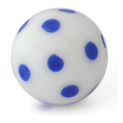 "Knobco - Polka Dotted Glass Knob, White knob with Blue Polka Dots - White knob with Blue Polka Dots glass knob. Unique glass knobs for your kitchen cabinets. 1"" in   diameter. Includes screws for installation."