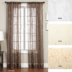 None - Angela Ribbon Embroidered 84-inch Curtain Panel - These stunning 84-inch embroidered curtains will add sheer elegance to your home or office windows. Available in multiple color choices,these beautiful sheer panels by Angela feature delicate ribbon embroidery in a simple flower design.