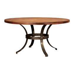 TerraSur - Hugo Round Dining Table - Serve dinner around this table and round up compliments on your impeccable style. Handsomely rustic and hand distressed with plenty of great curves, it boasts a solid wood top, solid steel legs and solid good looks. Made in Argentina.