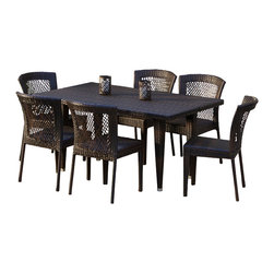 Great Deal Furniture - Dana Point 7pc Outdoor Dining Set - Whether on a cool fall day or a warm summer morning, food just tastes better when eaten outdoors, especially when it's on our Dana Point 7-piece Outdoor Dining Set. The rich, natural color of the wicker will fit with nicely against any outdoor landscape, pool or inside a screened porch. Unlike some wicker chairs, these are strong, sturdy, and comfortable. This set arrives fully assembled and ready to use.