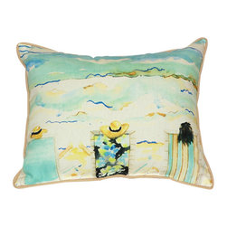 Betsy Drake - Betsy Drake Bottoms Up Again Pillow- Indoor/Outdoor - Bottoms Up Again! Pillow- Large indoor/outdoor pillow. These versatile pillows are equal at enhancing your homes seaside decor and adding coastal charm to an outdoor setting arrangment. They feature printed outdoor, fade resistant fabric for years of wear and enjoyment. Solid back, polyfill. Proudly made in the USA.