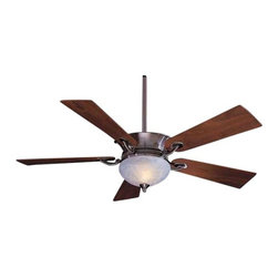 Minka Aire Fans - 52-Inch Ceiling Fan with Five Blades and Light Kit - F701-PW - This ceiling fan features a dark restoration bronze motor with an integrated uplight and halogen downlight. The uplight includes six 15-watt candelabra bulbs and the rustic scavo glass downlight includes mini-can halogen bulbs. Five dark walnut blades and 3-1/2-inch and 6-inch downrods are included. The fan speed, direction and both lights are controlled by the included wall mounted control. Integrated sloped ceiling adapter also included. Takes (6) 15-watt incandescent Flame bulb(s). Bulb(s) sold separately. Dry location rated.