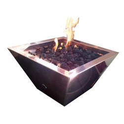 "warming trends - CFP Portable  Copper Fire Pit - Portable Copper Fire Pot - 24"" x 24"" square x 18"" high. Includes a 24"" MLS Burner, copper pan, lava rock, 1/2"" flex line & key valve."
