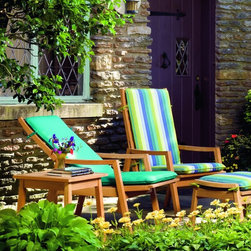 Oxford Garden Siena Reclining Armchair - The perfect reclining chair for small balconies or any place where space is limited. The back and seat slide as a unit, reducing the amount of space needed. Easily reclines into 5 different positions. A cushion is included for maximum comfort.