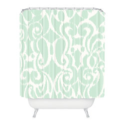 DENY Designs - Khristian A. Howell Eloise Shower Curtain - You know you can't resist. This curvy, fresh aqua and white ikat pattern on woven polyester adds the perfect pop of color and pattern, and blends with just about any decorating style. Weave this one into your morning routine for fresh style.