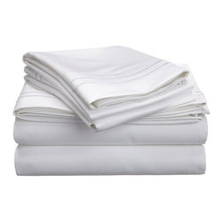 """Egyptian Cotton 800 Thread Count Embroidered Sheet Set - King - White/White - Bring a touch of elegance to your bedroom with this Egyptian Cotton 800 Thread Count Embroidered Sheet Set. This sheet set features a minimalistic but magnificent design consisting of embroidered colored lines atop sateen solid colored fabric creating an updated look to a classic design. Each set includes (1) Fitted Sheet: 78""""x80"""", (1) Flat Sheet: 108""""x102"""", and (2) Pillowcases: 20""""x40""""."""