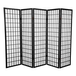 Oriental Furniture - 5 ft. Tall Window Pane Shoji Screen - Black - 5 Panels - A modern take on a classic Japanese design, this Shoji screen is one of our most popular room dividers. Hand constructed from fiber-reinforced Shoji rice paper and Scandinavian spruce, these allow diffused light without sacrificing privacy. The simple, elegant design fits in with any style of home furnishing and is perfect for sectioning off part of a room, keeping things removed from sight, or even just adding an East Asian accent to your decor.