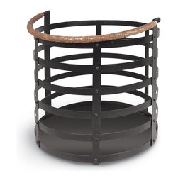 Kathy Kuo Home - Garvey Rustic Lodge Wrought Iron Log Floor Basket - For carrying logs in for the fireplace or storing some toasty wool blankets near the sofa, this rustic wrought iron basket is a beautifully versatile solution. A folding, tan, woven leather handle adds a classic, country detail.