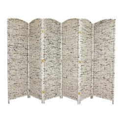 Oriental Furniture - 6 ft. Tall Recycled Newspaper Room Divider - 6 Panels - A unique room divider, hand-crafted from recycled Asian news print woven into kiln-dried wood frame panels. Shade light from windows or doorways, hide a messy work area, or divide a living space. An environmentally-friendly screen, lightweight and durable.