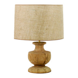 Kathy Kuo Home - Hudson French Country Solid Oak Urn Lamp - This lamp is an excellent example of how playing with scale can create gorgeous statement pieces.  The elegant simplicity of turned wood usually found at the end of a table or chair leg is supersized and transformed into a classic ceramic silhouette. The result is a lamp with rustic and traditional looks, perfect for farmhouse or townhouse.