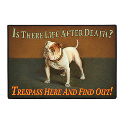 015-Life After Death Doormat - 100% Polyester face, permanently dye printed & fade resistant, nonskid rubber backing, durable polypropylene web trim. Use on the porch or near your back entrance to the house. Indoor and outdoor compatible rugs that stand up to heavy use and weather effects
