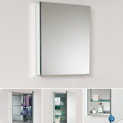 """Fresca - Fresca 20"""" Wide Bathroom Medicine Cabinet w/ Mirrors - With plenty of mirrored surfaces, the FMC8058 Fresca 20-inch Bathroom Medicine Cabinet will make a stunning statement in your home. It features one door with mirrors on both sides so you can have it open to access your makeup, while also keeping an eye on your appearance. The mirrored interior of this Fresca medicine cabinet reflects your toiletries, which sit atop the two tempered-glass shelves. Measuring 19 1/2""""W x 26""""H x 5""""D, this bathroom medicine cabinet with mirrors everywhere is sure to please."""