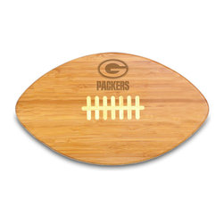 """Picnic Time - Green Bay Packers Touchdown Pro Cutting Board in Natural Wood - The Touchdown! cutting board is a 15"""" x 8.75"""" x 0.75"""" board made of eco-friendly bamboo with a standard football design, with 123 square inches of cutting surface. It can be used as a cutting board or serving tray, or use both sides of the board, one for cutting and the other for serving. The backside of the board is solid dark bamboo. Go long...for the Touchdown! Decoration: Engraved"""