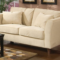 Coaster - Park Place Contemporary Loveseat - Contemporary with a luxurious feel, this cream colored velvet upholstered love seat will fit in easily with most any d̩cor. It has a sophisticated look and comfortable feel with throw pillows on the back. 70 inches long. * Contemporary style. Flair tapered arm. Loose throw pillows. Plush pillow style seat back. Exposed tapered block legs. Solid wood frame construction. Standard density foam seat cushions with poly-fiber filled back pillows. Fits easily into smaller spaces. Made from microfiber. Cream color. 70 in. L x 36 in. W x 37.5 in. H. Warranty A two seat design provides generous seating space for family and friends. Loose throw pillows in a matching fabric complete the casual appeal of this stylish love seat.