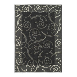 Safavieh - Safavieh Courtyard Cy2665-3908 Black / Sand Area Rug - Traditional patterns and classic beauty are found in the area rugs of the Courtyard collection. Made in Belgium of enhanced polypropylene, these rugs are extremely durable and perfect for indoor or outdoor use. The area rugs of the Safavieh Courtyard collection offer highly detailed and sophisticated designs created through an unusual sisal weave. Select the colors, design, and style that will compliment any room in your home in round, rectangular or runner rugs.