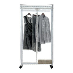 Home Decorators Collection - Supreme Clothes Closet - Our Supreme Clothes Closet store and protects your seasonal clothes is a snap with this closet. The clear cover helps you see what is stored inside while protecting clothes from dust and bugs. Wheels make it easy to move anywhere you need to store it. Easy assembly. Heavy duty epoxy coated steel frame and shelves. Clear cover with easy access 3-way zipper. Wheels included.