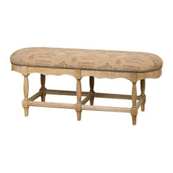 Matthew Williams - Matthew Williams L'Artiste Armless Bench X-77132 - Inspired by the darkened parchment of vintage wine labels, this bench is craftsman built in solid hardwood with sanded cork finish and antique brass accent nails.