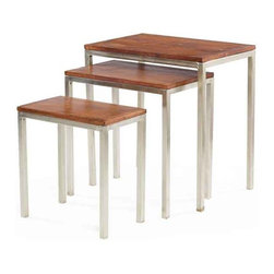 Set of Three Nickel and Wood Nesting Tables - The wood nesting table comes from our Country chic furniture collection in the set of 3. The nickel finish gives the tables a shiny exterior and appearance. These multi-purpose tables can be utilized to be kept in the study room as a writing desk or in the dining room as an end table.