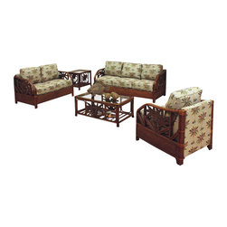Hospitality Rattan - Rattan-Wicker 5 PC Set Deep Seating  in TC Antique Finish (Canvas Camel) - Fabric: Canvas Camel. Includes: Sofa - Loveseat - Lounge Chair - Coffee Table - End Table. Made of Rattan Poles & Woven Wicker. Finished in TC Antique Color. Includes cushions with choice of fabric in a variety of colors and patterns. Fully assembled with Palm Tree decor. Herringbone wicker weave. Woven Leather Bindings. Lounge Chair: 29 in. W x 36 in. L x 31 in. H (45 lbs.). Loveseat: 53 in. W x 34 in. L x 31 in. H (74 lbs.). Sofa: 75 in. W x 34 in. L x 31 in. H (93 lbs.). End table: 26 in. W x 21 in. L x 22 in. H (35 lbs.). Coffee table: 43 in. W x 23 in. L x 17 in. H (45 lbs.)This Cancun Palm Upholstered Seating collection is one of our exclusive and largest collections of fine rattan and herringbone wicker weaving. That has a fiber palm tree castings design. The woven leather bindings used throughout Cancun Palm ensures its durability and quality for many years of use. It enhances the tropical look in any living room or florid room. This upholstered collection is assembled in the USA, and also shows the fabric along the rear of the seating pieces. The selection of three finishes also compliments any room decor. In addition your choice of over 45 fabrics is available on the Cancun Palm Collection. The optional sleeper sofa bed is available.