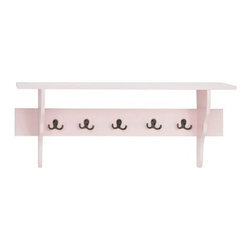 Pink Wall Shelf with 5 Hooks - Not only is the Pink Wall Shelf with 5 Hooks charming as can be--it's handy, too. Hang it in a kitchen, entryway, or even a kid's bedroom for a perfect spot to store scarves, jackets, bags, and more. The high-quality wood shelf includes five double-pronged metal hooks, not to mention the prettiest pink finish we've seen. An upper shelf completes the design.