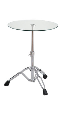 Eurostyle - Drum Side Table-Clear/Chrome - Drum roll, please. This super-cool table takes inspiration from the stands used to support music drums. Its glass top allows you to put the spotlight on a lamp or your favorite music book or tour program. But, please … don't bang on it.