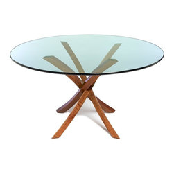 Brown Walnut Dining Table (Glass Included) by Francois Langlin, Regular - Buenos Aires table base with glass top. Hand shaped dark walnut.