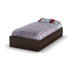 "South Shore - Logik Twin Mates Bed Box - This fashionably functional twin mates bed 39'' is well adapted to today's requirements. Its two spacious drawers will provide you with a convenient bedside storage solution. It features antique finish metal handles. It can be used with the twin bookcase headboard 39'' to form a more complete ensemble. Features: -Twin Mates bed.-Two drawers.-ISTA 3A certified.-EPP certified.-Weight limit: 250 lbs.-Engineered wood construction.-Metal handles with antique pewter finish.-Logik collection.-Distressed: No.-Mattress Included: No.-Box Spring Required: No.-Country of Manufacture: Canada.Dimensions: -Interior drawers: 35'' W x 17.75'' D.-Overall Height - Top to Bottom: 14"".-Overall Width - Side to Side: 43"".-Overall Depth - Front to Back: 77"".-Overall Product Weight: 108 lbs.Assembly: -Assembly required.Warranty: -Manufacture provides 5 years warranty."
