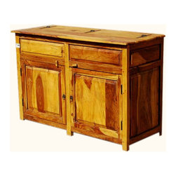 Dallas Ranch Solid Wood 2-Door Rustic Kitchen Storage Buffet Cabinet - Keep everything in its place with the Dallas Ranch Solid Wood 2-Door Rustic Kitchen Storage Buffet Cabinet. The solid Indian Rosewood multi toned storage cabinet doesn't waste an inch of space. A single wide cabinet space and a flip open counter top will give you space to store even odd shaped items.