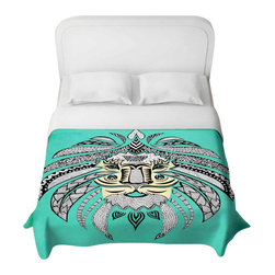 DiaNoche Designs - Emperor Tribal Lion Turquesa Duvet Cover - Lightweight and super soft brushed twill Duvet Cover sizes Twin, Queen, King.  Cotton Poly blend.  Ties in each corner to secure insert. Blanket insert or comforter slides comfortably into Duvet cover with zipper closure to hold blanket inside.  Blanket not Included. Dye Sublimation printing adheres the ink to the material for long life and durability. Printed top, khaki colored bottom, Machine Washable, Product may vary slightly from image.