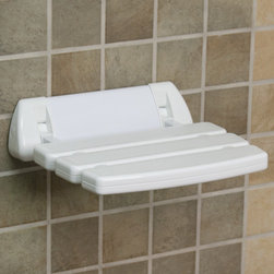Wall-Mount Folding Shower Seat with Rounded Bracket - White - This Wall-Mount Folding Shower Seat with Rounded Bracket will coordinate with any style of bathroom decor. This shower seat folds up easily for quick storage.