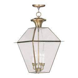 Livex Lighting - Livex Lighting 2387-01 Westover Outdoor Pendant Antique Brass - -Finish: Antique Brass
