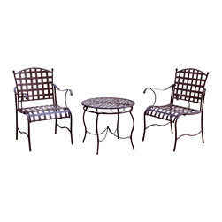 International Caravan - 3-Pc Nailhead Bistro Set - Includes two bistro chairs and one bistro table. Dual powder coated for all weather resistant protection. UV light fading protection. Deep seating for maximum comfort. Made from pure wrought iron. Matte brown finish. Assembly required. Chair: 22 in. W x 19 in. D x 35.5 in. H (22 lbs.). Table: 26 in. Dia. x 24 in. H (19 lbs.). Overall weight: 69 lbs.