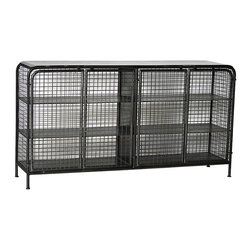 Stafford Metal Sideboard, Stainless Steel - Create a caged, industrial look with the Stafford metal sideboard. This black metal sideboard features a solid top and side by side cabinets with doors, sides, and backing created from square-shaped metal caging. Behind each set of doors are two black metal shelves for ample open display and storage in the dining room. Soften the harsh look of this sideboard with a pair of flowing green plants or go all-out industrial with metal sculpture or interesting art.