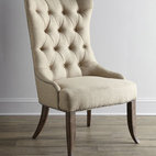"Horchow - Two Donabella Tufted Chairs - Dramatic chair with gracefully curved silhouette, highlighted by a button-tufted back, is finished with sleek, tailored legs. Mixed hardwood frame. Polyester upholstery. Sold in pairs; each, 26.5""W x 31.25""D x 46""T. Imported. Boxed weight, approxi..."