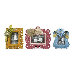 """IMAX CORPORATION - Abbott Embellished Photo Frames - Set of 3 - The Abbott photo frames have metal and lace florals added to vivid finishes adding a classy, sassy touch to any treasured memories. Set of 3 in various sizes measuring around 17.75""""L x 13.25""""W x 13.75""""H each. Shop home furnishings, decor, and accessories from Posh Urban Furnishings. Beautiful, stylish furniture and decor that will brighten your home instantly. Shop modern, traditional, vintage, and world designs."""