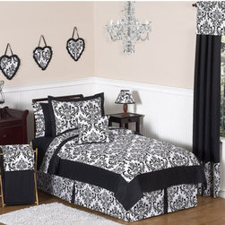 Sweet Jojo Designs - Isabella Black and White Collection 4pc Twin Bedding Set - Isabella Twin Bedding set will help you create an incredible room for your child. Features: -Set includes Twin comforter, 1 standard sham, 1 Twin bed skirt and 1 window valance. -Isabella collection. -Uses the stylish color pallete of rich black and crisp white. -Material: 100% Cotton fabrics. -Gorgeous damask print. -Fit all standard Twin beds. -Coordinating accessories including sheets, wall dcor, window treatments and more. -Lightweight. -Machine washable and dryable.