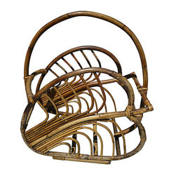 Vintage Rattan Magazine Holder - Oversize curved bamboo magazine holder shaped like palm leaves with handle.