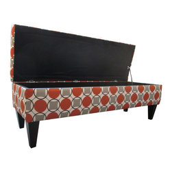Sole Designs - Sole Designs Button Tufted Storage Bench - Make your home more modern with this tufted storage bench. Featuring a geometric pattern that will liven any space,this bench has a wooden base that ensures its strength,and its upholstery has black,orange,and gray tones that are easy to match.