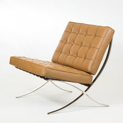 IFN Modern - Barcelona Chair Reproduction - Aniline Leather, Brown - Our Barcelona chair reproduction was inspired by Mies Van Der Rohe's mid-century furniture. The main source of inspiration for this piece comes from the 1929 German Pavilion where Mies and Lilly Reich showcased a gorgeous chair now known worldwide as the Barcelona Chair.