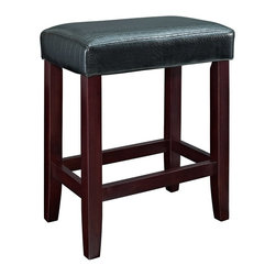 Powell - Powell Black Croc Faux Leather Counter Stools (Pack of 2) X-368-853 - Add plush seating, simple design and sleek style to a kitchen counter or high top table with the Black Croc Counter Stool. Straight lined, espresso finished legs are supported with sturdy braces providing a footrest for comfort. The plush top is upholstered in a Croc style faux leather PU. Perfect for any style decor.