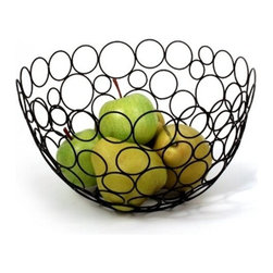 Spectrum Diversified Designs - Shapes & Circles Fruit Bowl, Black - Display your fruits and vegetables in style with the Circle Shapes Fruit Bowl. The fun and interesting shapes make a delightfully modern piece that will add a whimsical touch to your home. Made of sturdy steel, this bowl is the perfect addition to your home whether you are serving bread rolls, storing fruits, or displaying decorative ornaments during the holidays.