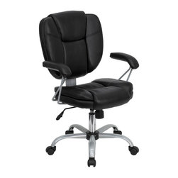 Flash Furniture - Eco-Friendly Leather Computer Task Chair in B - Thickly padded seat and back. Padded leather arm rests. Heavy duty frame design. Black leather pillow top seat. Spring tilt control mechanism. Pneumatic seat height adjustment. Tilt tension control. Heavy duty base. Dual wheel casters. Warranty: 2 years limited. Platinum epoxy powder coat frame finish. Assembly required. Back: 19.25 in. W x 20.5 in. H. Seat: 19.5 in. W x 19.25 in. D. Seat Height: 18.5 - 22.25 in.. Arm Height from Floor: 26 - 29.75 in.. Arm Height from Seat: 7.25 in.. Overall: 26 in. W x 24.25 in. D x 37.25 - 41 in. H (39 lbs.)
